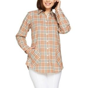 Joan Rivers Plaid Shirt W/ Back Button In Cocoa